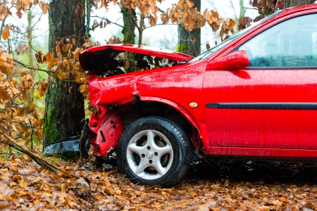 Accident - car crashed into tree, it is totally destroyed Stock Photo - 17713114