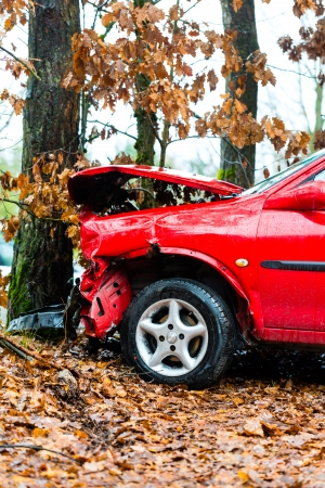 Accident - car crashed into tree, it is totally destroyed Stock Photo - 17712713