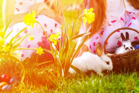bunny girl: Living Easter bunny with eggs in a basket on a meadow in spring, children in the background Stock Photo