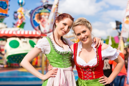 tracht: Young women in traditional Bavarian clothes - dirndl or tracht - on a festival or