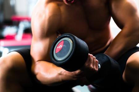 levantar pesas: Hombre fuerte, fisicoculturista ejercicios con pesas en un gimnasio