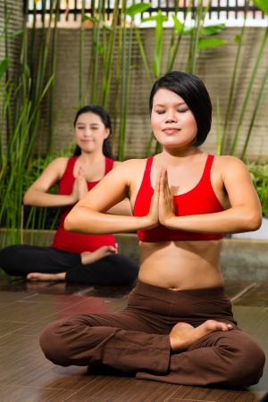 young Asian women sitting in yoga position while meditating in tropical setting Stock Photo - 18064113