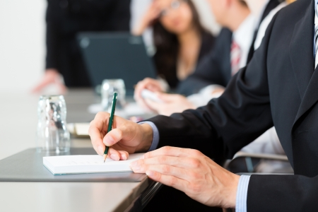lawyer meeting: Business - businesspeople have a meeting or workshop with presentation in office