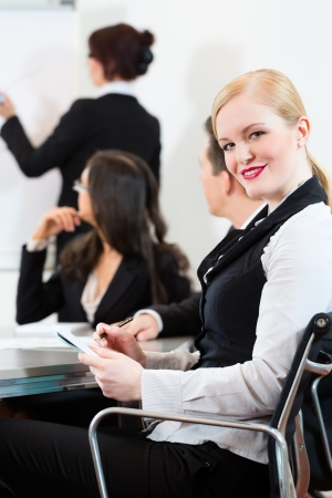 teambuilding: Business - businesspeople have a meeting or workshop with presentation in office