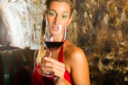 Woman keeping glass of wine in hand and looking skeptically in wine cellar Stock Photo - 18344677