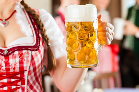 stein: Young people in traditional Bavarian Tracht in restaurant or pub, one woman is standing with beer stein in front, the group in the background Stock Photo
