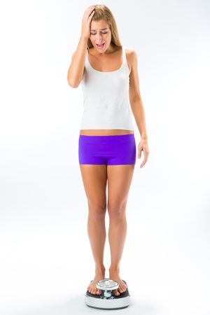 Diet and weight, young woman standing on a scale and is depressed photo