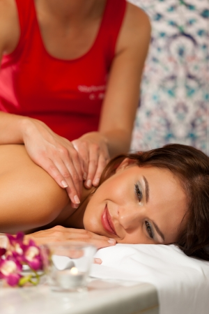 Wellness - woman getting massage in Spa Stock Photo - 19001082