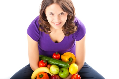 Healthy eating, happy woman with fruits and vegetables photo