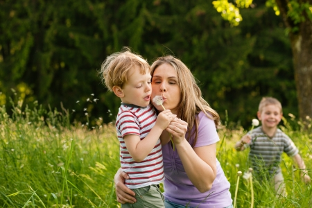 Family summer - blowing dandelion seeds  photo