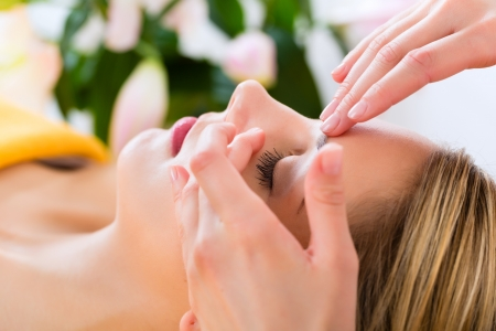 Wellness - woman receiving head or face massage in spa Stock Photo - 19761990