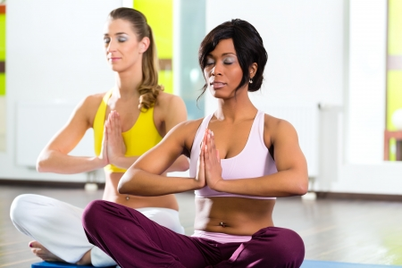 Young women doing yoga and meditation in gym for better fitness, caucasian and latina people Stock Photo - 19809481