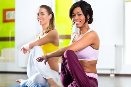 Young women doing yoga and meditation in gym for better fitness, caucasian and latina people Stock Photo - 19809480