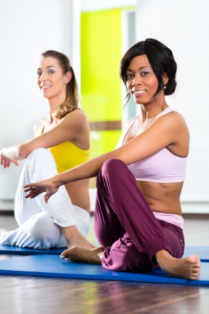 Young women doing yoga and meditation in gym for better fitness, caucasian and latina people Stock Photo - 19809492