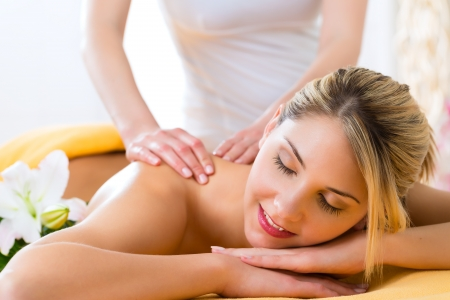 Wellness - woman receiving body or back massage in spa Stock Photo - 19806459