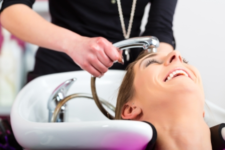 Woman at the hairdresser getting her hair washed and rinsed feeling visibly well Stock Photo - 19915734