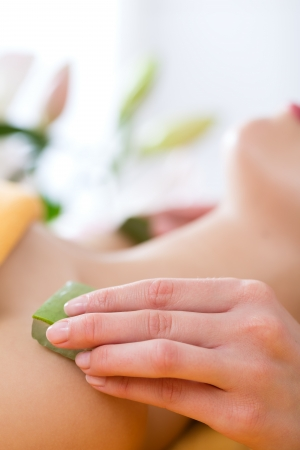 Wellness - woman receiving head or face massage whit aloe Vera in spa Stock Photo - 20052886