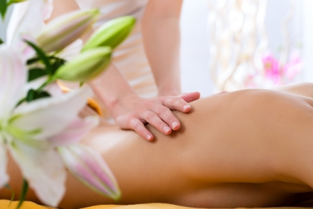 therapists: Wellness - woman receiving body or back massage in spa Stock Photo