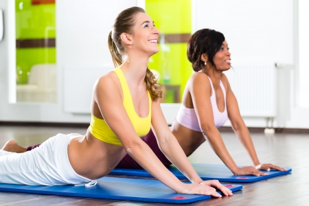 Young women doing yoga and meditation in gym for better fitness, caucasian and latina people Stock Photo - 20904599