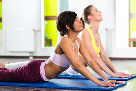 Young women doing yoga and meditation in gym for better fitness, caucasian and latina people Stock Photo - 20904600
