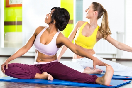 Young women doing yoga and meditation in gym for better fitness, caucasian and latina people Stock Photo - 20955295