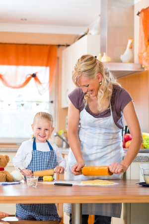 Family home baking - Mother and daughter baking cookies together at home Stock Photo - 22046740