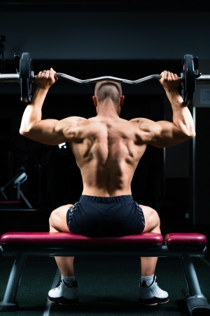 buildup: Strong man - bodybuilder with dumbbells in a gym, exercising with a dumbbell