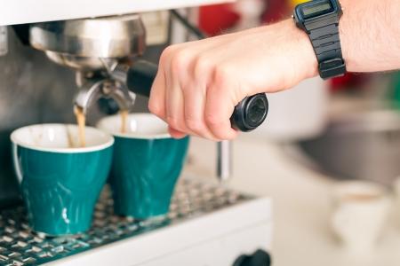 machine made: Coffee shop - coffee is freshly made with a coffee machine