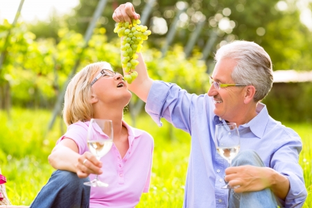spoiling: Senior Couple of man and woman having picnic on summer meadow drinking wine in vineyard, he spoils his wife with grapes
