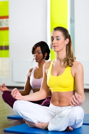Young women doing yoga and meditation in gym for better fitness, caucasian and latina people photo