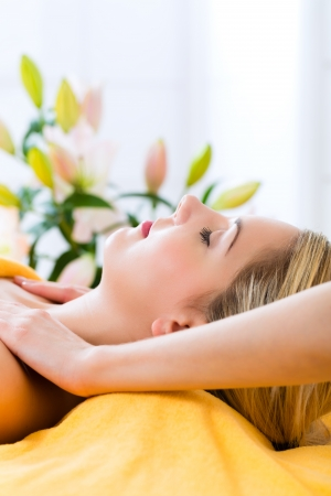 Wellness - woman receiving head or face massage in spa Stock Photo - 23941428