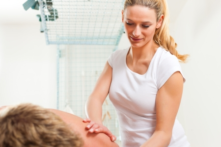 lymphatic drainage: Patient at the physiotherapy gets massage or lymphatic drainage Stock Photo