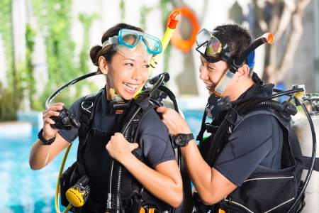 Asian people at the diver Course in diving school photo