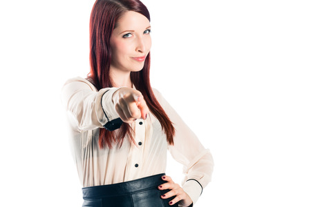 we the people: Young woman pointing with confidence Stock Photo