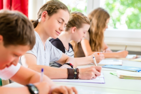 Students or pupils of school class writing an exam test in classroom concentrating on their work Stock Photo - 25002063