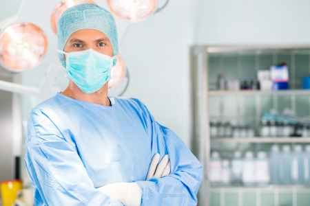Hospital - Young male doctor or surgeon in a sterile operating room, theater or clean room of clinic
