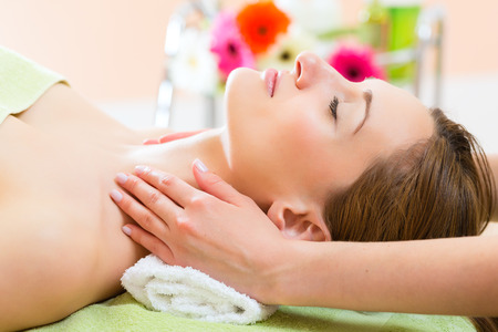 Wellness - woman receiving head or face massage in spa Stock Photo - 25774807