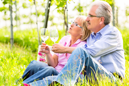 Senior Couple of man and woman having picnic on summer meadow drinking wine in vineyard photo