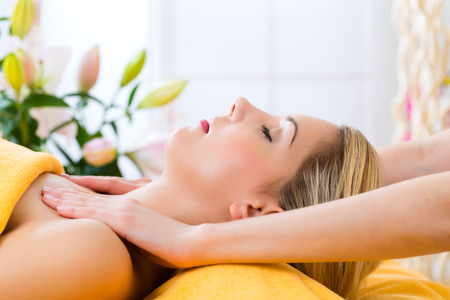 Wellness - woman receiving head or face massage in spa Stock Photo - 26361448