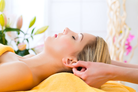 Wellness - woman receiving head or face massage in spa Stock Photo - 26361513
