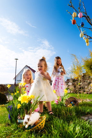 Children on an Easter Egg hunt on a meadow in spring, in the foreground a living Easter bunny is waiting Stock Photo