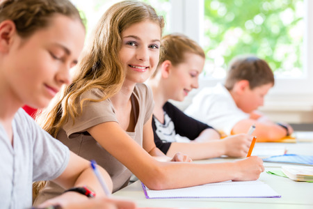 examination stress: Students or pupils of school class writing an exam test in classroom concentrating on their work