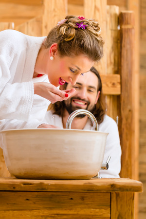 Couple at wellness spa enjoying romantic trip photo