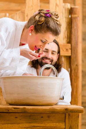 washbasin: Couple at wellness spa enjoying romantic trip