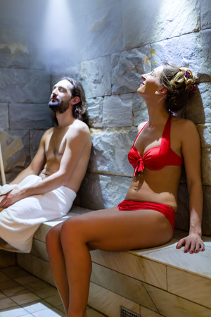steam bath: Couple in wellness spa steam bath