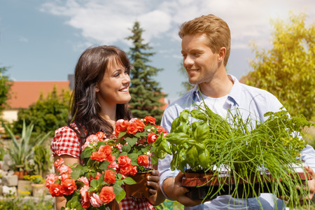 Gardening in summer - happy couple in garden with fresh herbs and red flowers photo