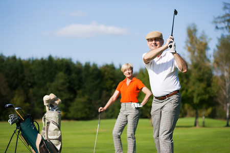 lesson: Golf training in summer Stock Photo