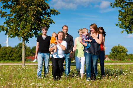 multigeneration: Family and multi-generation - mother, father, children and grandmother having fun on meadow in summer