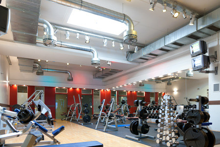 gymnastics equipment: Gym and fitness - weights and equipment Stock Photo