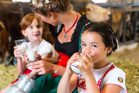 farm girl: Bavarian mother sitting with children in cowhouse on hay bale drinking fresh milk